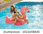 summer fun. fashion girls on...   Shutterstock . vector #1021658830