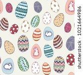 happy easter eggs cartoon...   Shutterstock .eps vector #1021664986