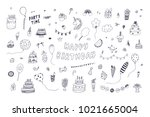 happy birthday party decoration ... | Shutterstock .eps vector #1021665004