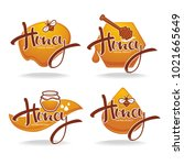 natural  honey  sticker  symbol ... | Shutterstock .eps vector #1021665649