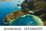 tropical lagoon with azure... | Shutterstock . vector #1021666534