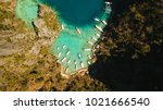 tropical lagoon with azure... | Shutterstock . vector #1021666540