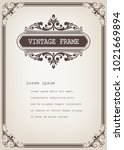 vintage frame with beautiful... | Shutterstock .eps vector #1021669894