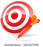 dart hitting a target  isolated ... | Shutterstock .eps vector #102167290