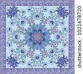 blue fantastic flower ornament. ...   Shutterstock .eps vector #1021678720