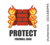 firewall logo. protection logo... | Shutterstock .eps vector #1021680994