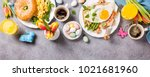 easter breakfast flat lay with... | Shutterstock . vector #1021681960