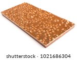the back of a chocolate bar on... | Shutterstock . vector #1021686304