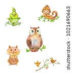 cute forest animals and birds.... | Shutterstock . vector #1021690663