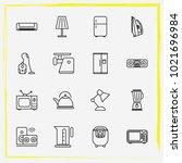 home appliances line icon set... | Shutterstock .eps vector #1021696984