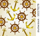 pattern of anchors and boat...   Shutterstock .eps vector #102170278