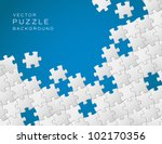 Stock vector vector abstract blue background made from white puzzle pieces and place for your content 102170356