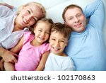 portrait of happy family... | Shutterstock . vector #102170863