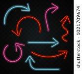 neon arrows icons set | Shutterstock .eps vector #1021709674