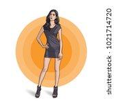 the model girl in gray dress is ... | Shutterstock .eps vector #1021714720
