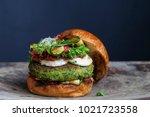 vegetarian burger made of green ...   Shutterstock . vector #1021723558