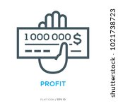 million check line flat icon | Shutterstock .eps vector #1021738723