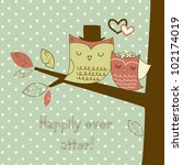 two cute owls on the tree... | Shutterstock .eps vector #102174019