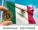 hand holding bitcoin on mexico... | Shutterstock . vector #1021744618