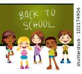 five children happy back to...   Shutterstock .eps vector #102174904