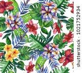 seamless hand drawn tropical... | Shutterstock . vector #1021752934
