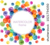 watercolor frame. birthday... | Shutterstock . vector #1021754350
