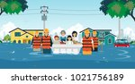 flood rescue teams are helping... | Shutterstock .eps vector #1021756189