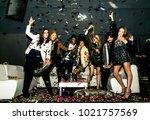 multi ethnic group of friends... | Shutterstock . vector #1021757569