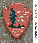US national park service sign on the rock background