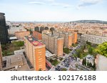 panorama of barcelona city in... | Shutterstock . vector #102176188