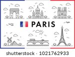 paris  france. eiffel tower and ... | Shutterstock .eps vector #1021762933
