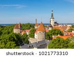 aerial view of tallinn old town ... | Shutterstock . vector #1021773310