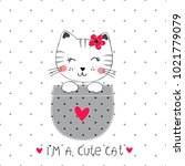 vector illustration with cute... | Shutterstock .eps vector #1021779079