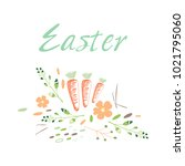 happy easter.  illustration on... | Shutterstock . vector #1021795060