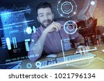 interesting task. clever young...   Shutterstock . vector #1021796134