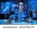 working process. calm attentive ... | Shutterstock . vector #1021796179