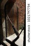 broomsticks in a doorway | Shutterstock . vector #1021797754