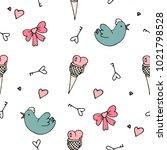 love symbols seamless pattern.... | Shutterstock .eps vector #1021798528