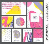set of creative universal... | Shutterstock .eps vector #1021802200