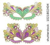 vector mardi gras carnival mask ... | Shutterstock .eps vector #1021802404
