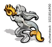 marble sculpture of a mermaid... | Shutterstock .eps vector #1021816900