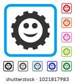 gear smile smiley icon. flat...