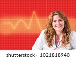beautiful female doctor with...   Shutterstock . vector #1021818940