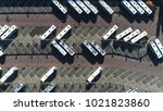 aerial top down photo of bus... | Shutterstock . vector #1021823860