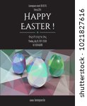 happy easter invitation card.... | Shutterstock .eps vector #1021827616