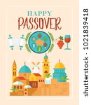 passover holiday greeting card... | Shutterstock .eps vector #1021839418