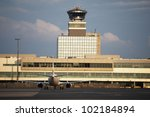 Airplane at the airport, Prague, Czech Republic - stock photo