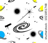 space. seamless pattern | Shutterstock .eps vector #1021851748