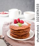 chocolate pancakes with... | Shutterstock . vector #1021856533