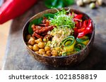 vegan buddha bowl with... | Shutterstock . vector #1021858819